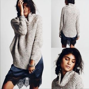 Free People Dylan Tweedy Cowl Neck Sweater